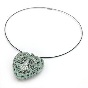 Mint and Silver Heart Necklace Magnetic Clasp